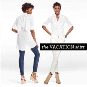 CAbi White Button Down Vacation Shirt 5057 S